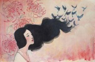 鳥になる女性の髪