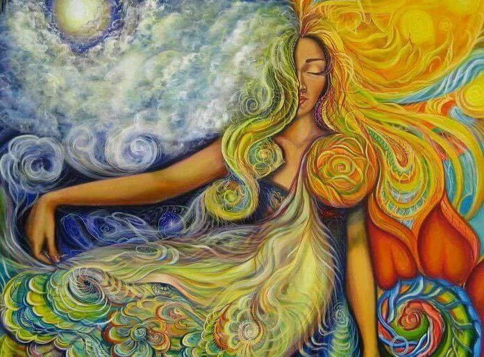 天地の要素からなる女性