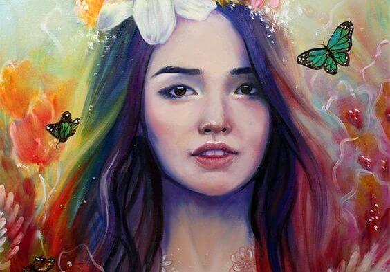 虹色の髪の少女と蝶