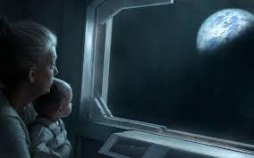 地球を眺める赤ちゃんと老人