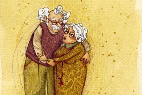 抱き合う老夫婦