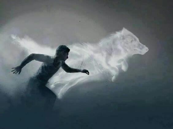 男性と狼の影
