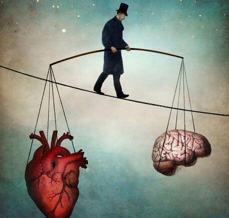 心臓と脳でバランスを取りながら綱を渡る人