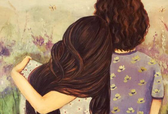 母と娘の後ろ姿