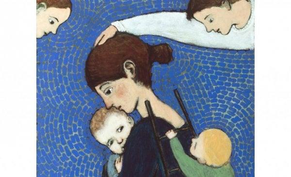 子どもを守る母親