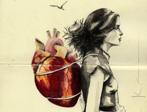 心臓を背負った女性