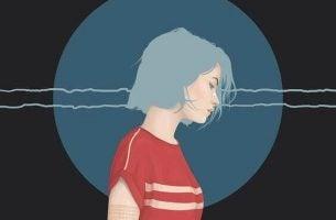 青い髪の悲しい女性