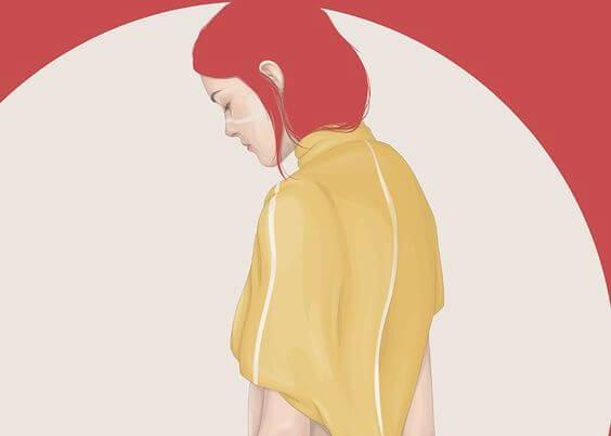 赤い髪の悲しい女性