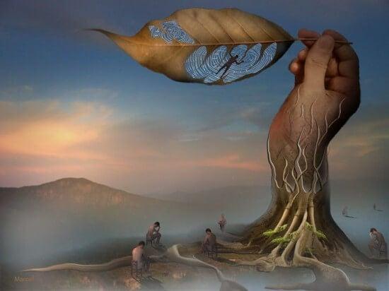 手でできた木と人間