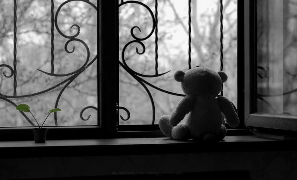 窓際のテディベア