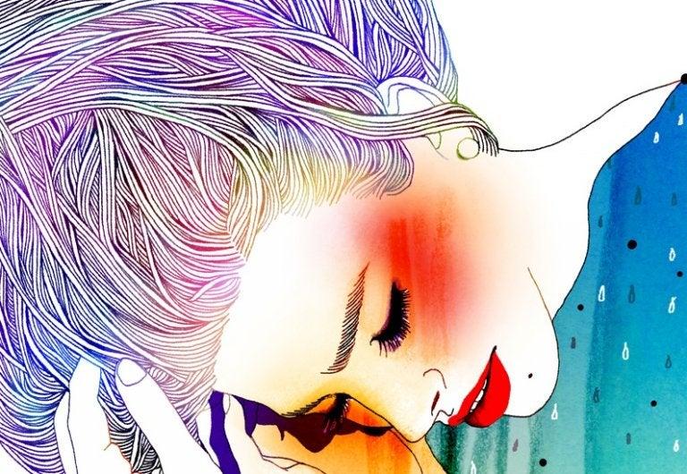 頬紅を塗った女性