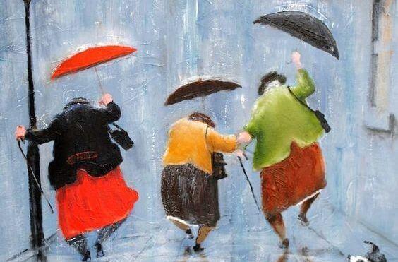 雨の中の3人の老婦人