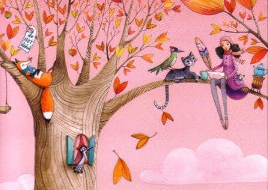 木の上の少女と動物たち