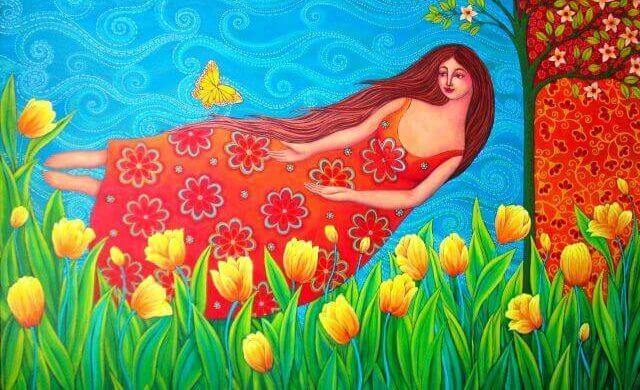 チューリップと水に浮かぶ女性