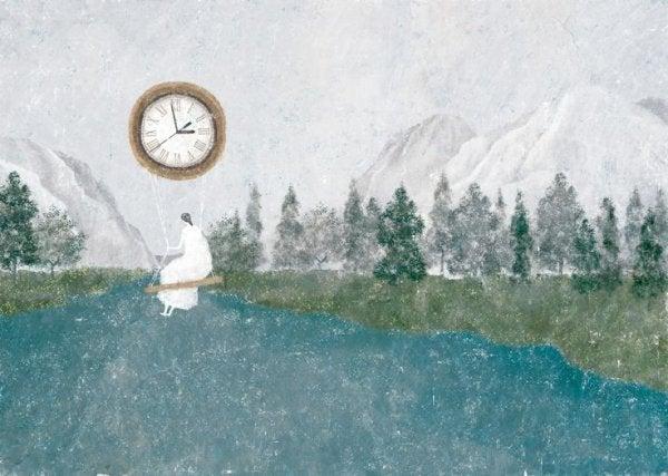 湖の上で時計のブランコに乗る女性