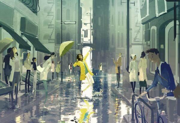 雨の中の黄色の女性