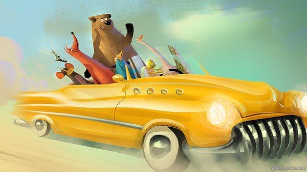 車に乗る動物たち