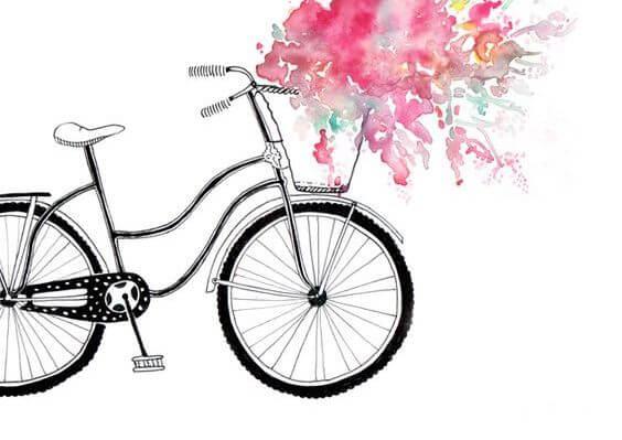 自転車と赤