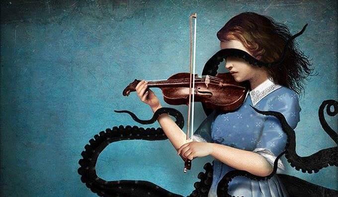 タコの足に絡まるバイオリンを弾く少女