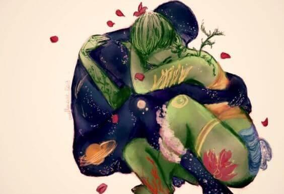 抱き合う宇宙と地球のカップル