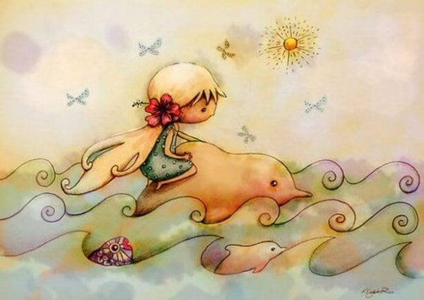 イルカに乗る少女