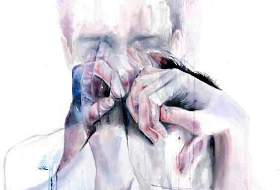 泣く男性の影