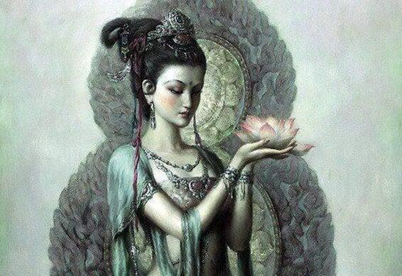 蓮の花を持った菩薩