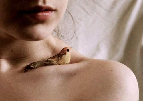 女性の鎖骨に乗る鳥