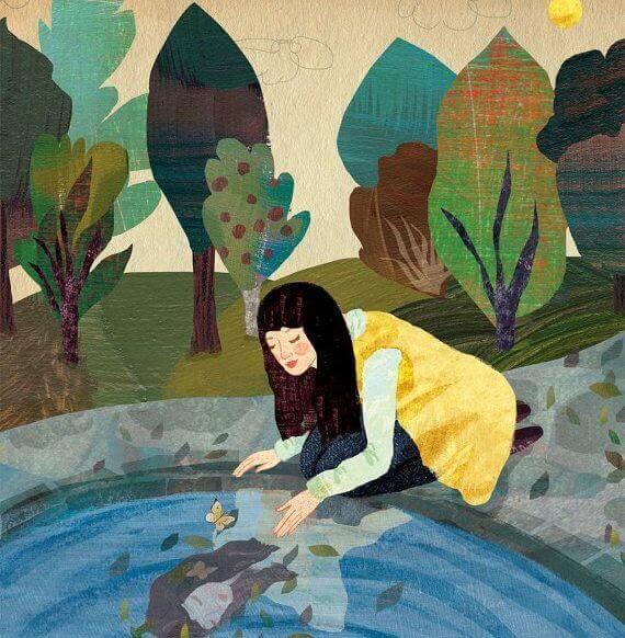 水面を覗く女性