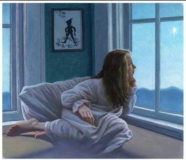 夜星を眺める女性