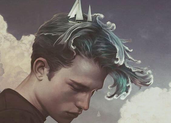 髪の毛が海の男性