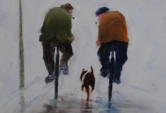 自転車に乗る二人の老人と一匹の犬