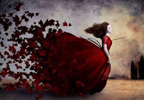 胸を射られた女性と赤いドレス