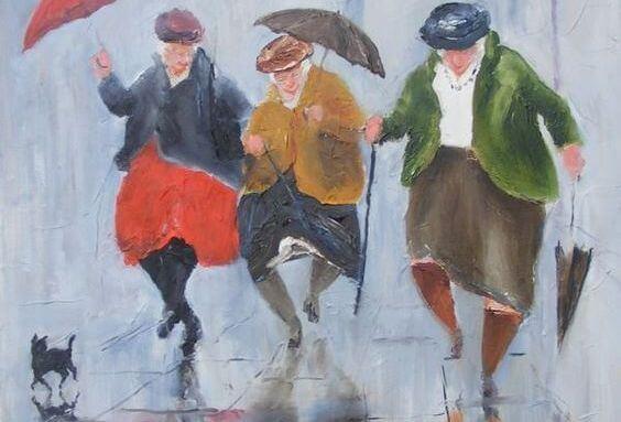 傘を差した老婦人3人