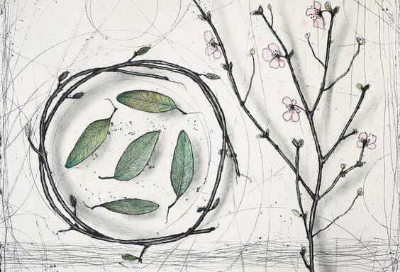 木の枝のリースと花