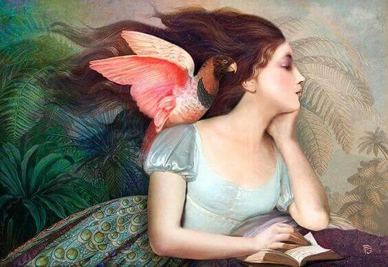 肩に鳥を乗せて本読む女性