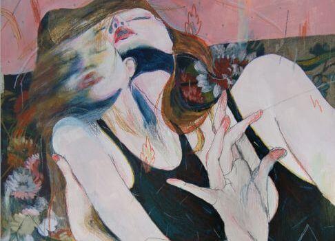 女性の体から離脱する魂
