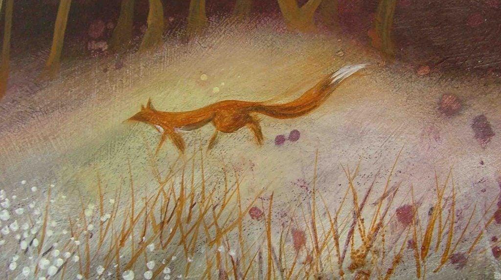 森を歩く狐