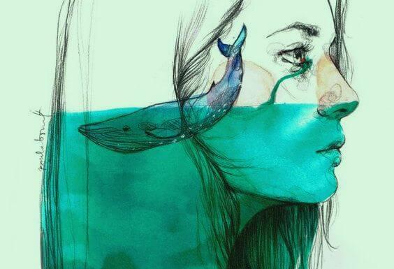 女性の頭の中のクジラ