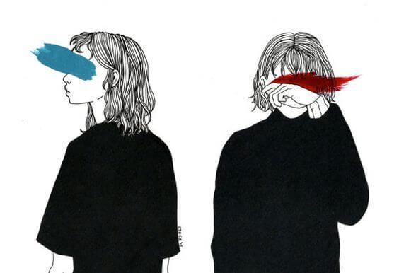 青と赤で目が隠れた女性