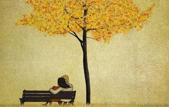 木の下のカップル