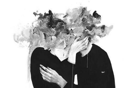頭の崩れた抱き合うカップル
