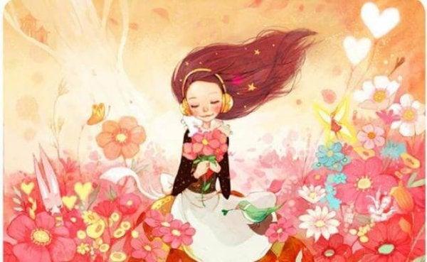 ピンクの花畑の中の少女