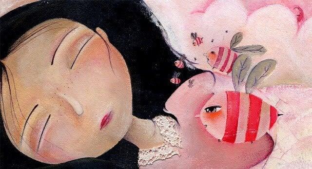 眠る少女をとりまくピンクのハチ