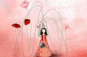 篭を頭に被った女の子