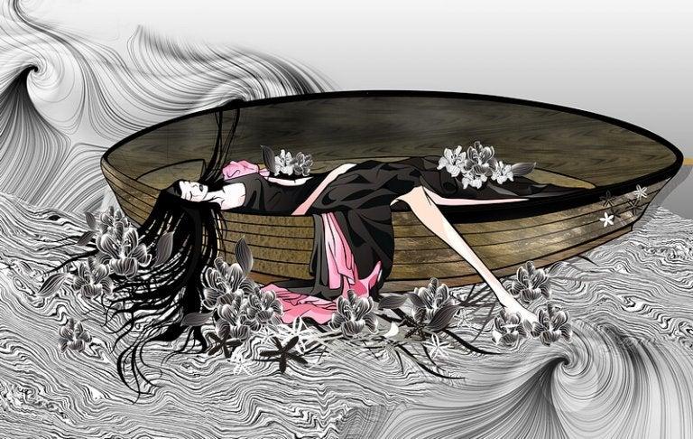 カヌーで眠る女性