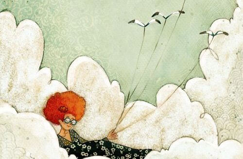 鳥に引っ張られて雲の上をいく女性