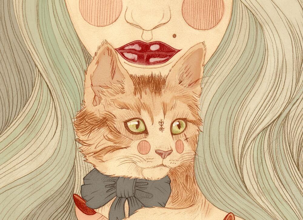猫と青い髪の女性