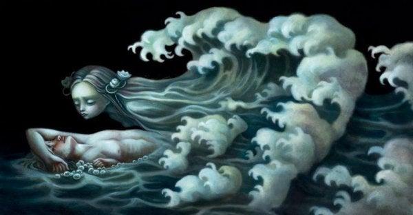 波の女の子とおぼれた男の子