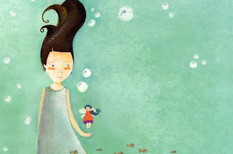 水中の女性と妖精